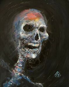 PRINT-Happy-Laughing-Skull-Skeleton-Dark-Macabre-Psychedelic-Wall-Art-11x14