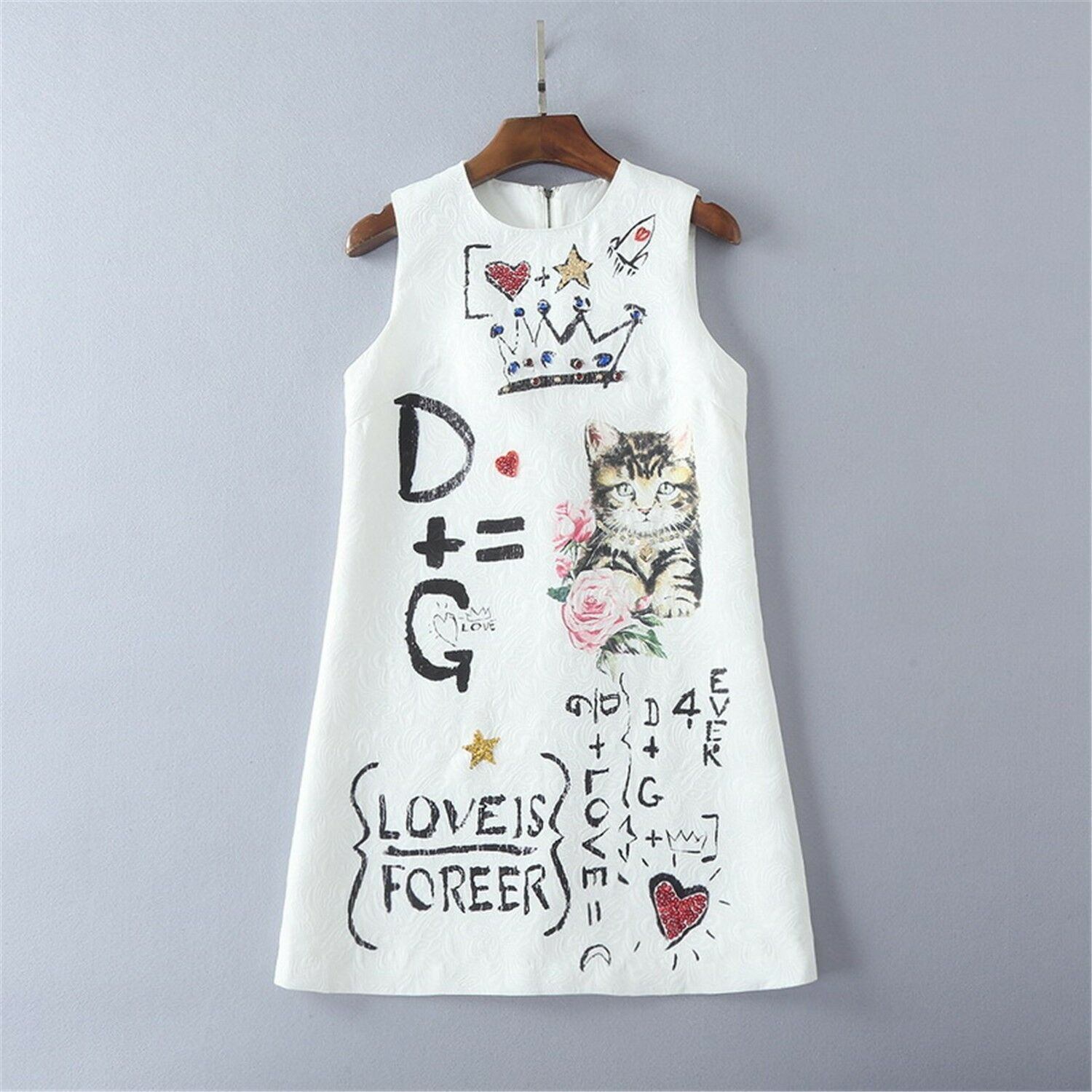 New Beaded Sequins cat print vest dress occident new summer fashion dress Vogue