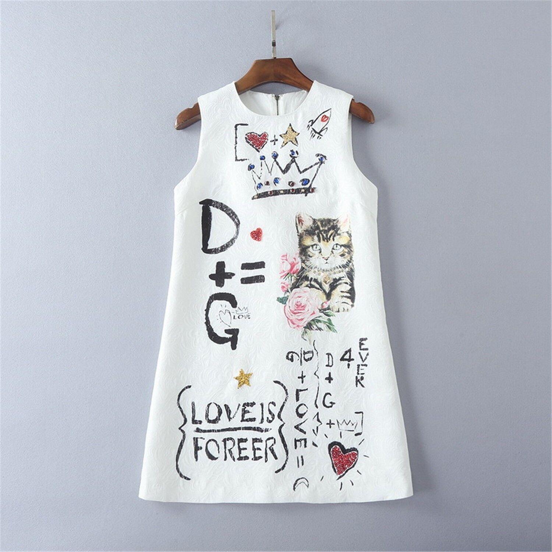 New Beaded Sequins cat print vest dress occident new summer fashion dress Vogue