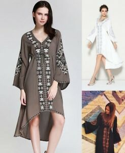 NEW-HIPPIE-FLORAL-EMBROIDERED-FASHION-COCKTAIL-ASYMMETRICAL-EMPIRE-WAIST-DRESS-A