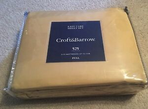 Croft-amp-Barrow-525-Thread-Count-Full-Sheet-Set-Gold