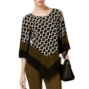 ALFANI-NEW-Women-039-s-Green-Black-Geometric-Print-Angled-hem-Blouse-Shirt-Top-TEDO