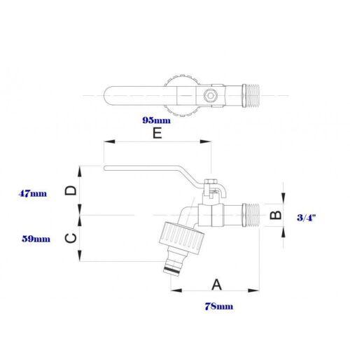 BIBCOCK WATER BALL VALVE  AND GARDEN CONNECTOR 1//2,3//4
