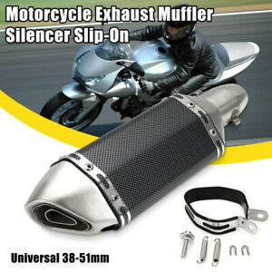 38-51mm-Motorcycle-Carbon-Fiber-Exhaust-Muffler-Pipe-Remove-Silencer-amp-DB-Killer