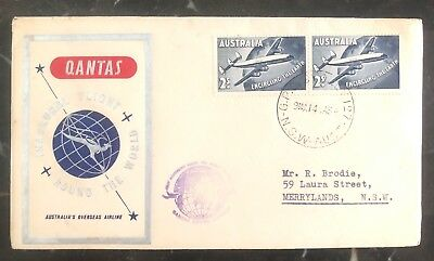 Kenntnisreich 1958 Sydney Australien First Flight Abdeckung Ffc Qantas Round The World Australien, Ozean. & Antarktis Briefmarken
