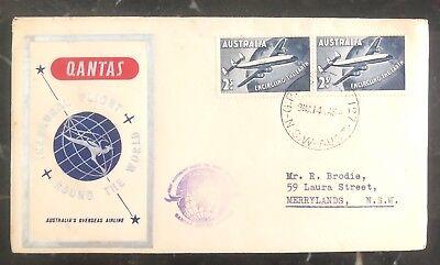 Kenntnisreich 1958 Sydney Australien First Flight Abdeckung Ffc Qantas Round The World Briefmarken