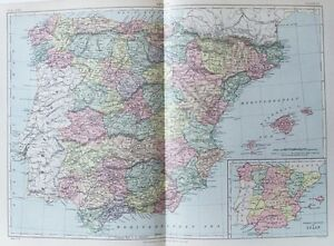 OLD ANTIQUE MAP SPAIN BALEARIC ISLANDS MAJORCA MINORCA c1880s by