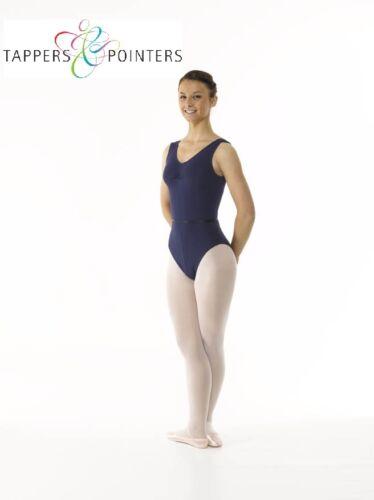 GIRLS COTTON LYCRA REGULATION SLEEVELESS RAD OR ISTD BALLET//DANCE LEOTARD /& BELT