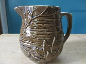Vintage-Unmarked-McCoy-Art-Pottery-Light-Brown-Lily-Pad-Small-Pitcher