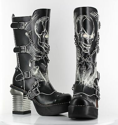 HADES SPAWN Black White Glow in the Dark Skulls Chains Rocker Biker Gothic Boots