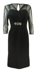 Alex-Evenings-Women-039-s-Embellished-Illusion-Sheath-Dress