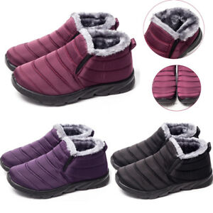 New-Womens-Ladies-Fur-Lined-Winter-Warm-Snow-Boots-Waterproof-Slip-On-Flat-Shoes