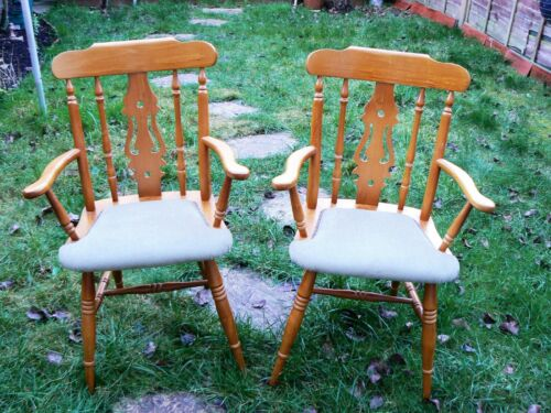 Vintage Large Upholstered Wooden Armrest Chairs Pair