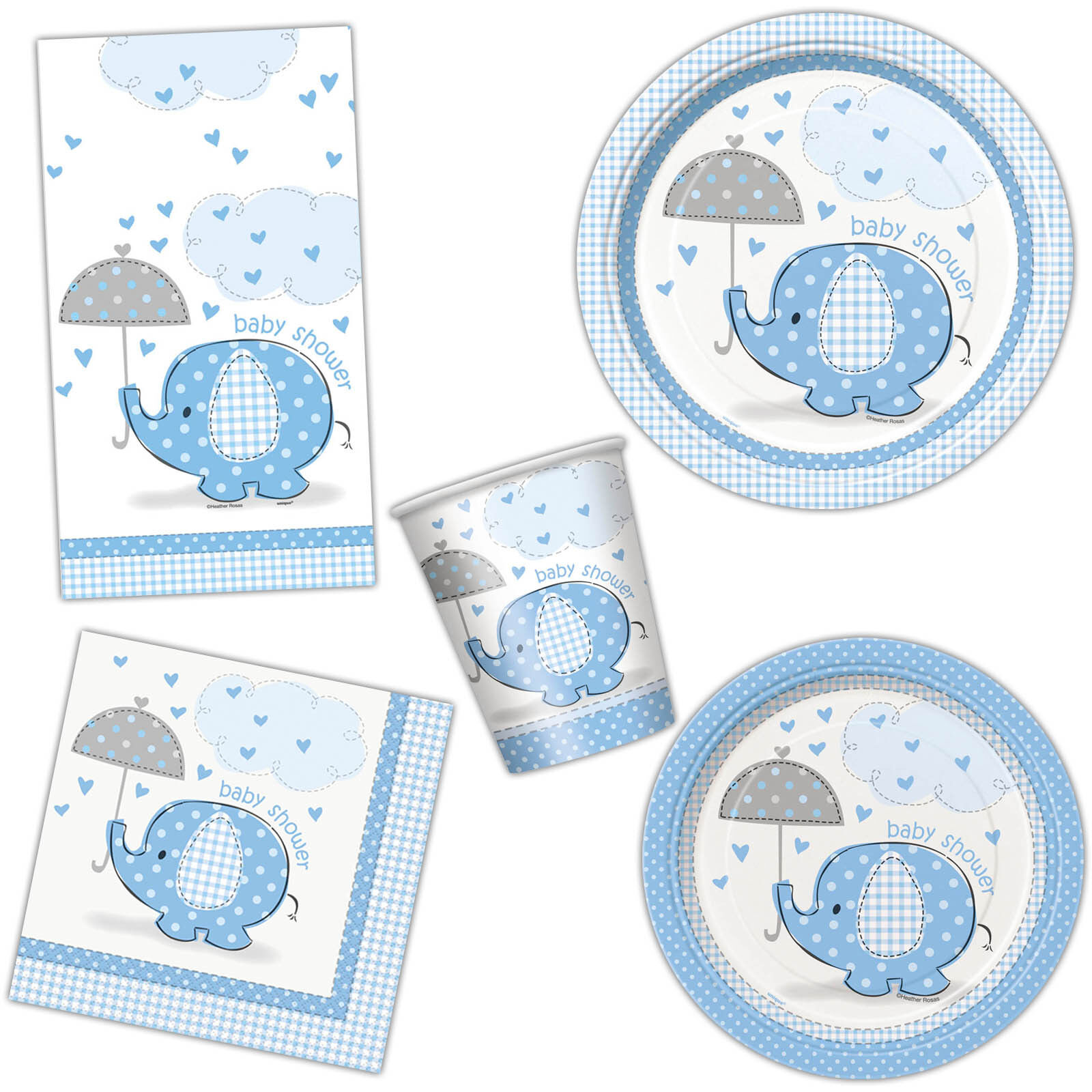 blue elephant baby shower party plates cups napkins tableware listing