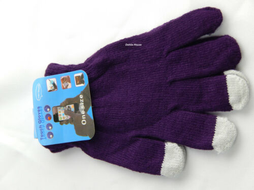WOMEN LADY GIRLS MEN BOYS KNITTED WOOLY WINTER WARM TOUCH SCREEN GLOVES ONE SIZE