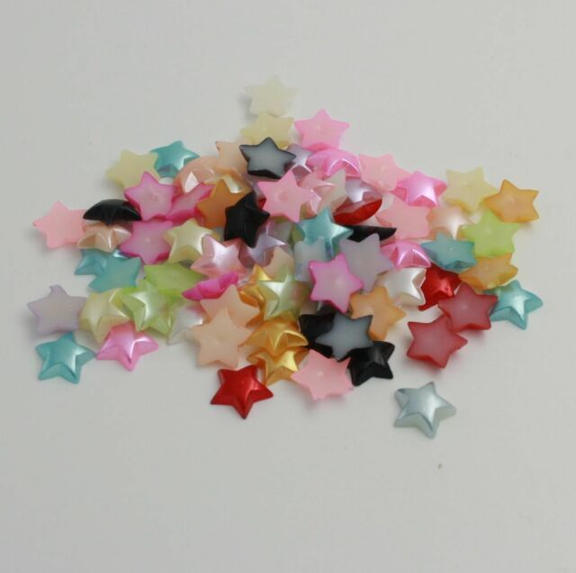 NEW DIY 100PCS 11MM mix stars Glossy resin Scrapbook Craft Flatback Beads /13