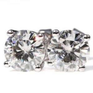2Ct-Round-Beautiful-Cut-Moissanite-Solitaire-Stud-Earrings-14K-White-Gold-Over