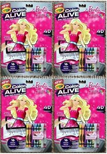 Lot Of 4 Brand New Crayola Color Alive Barbie 7 Crayons 16 - Crayola-color-alive-barbie