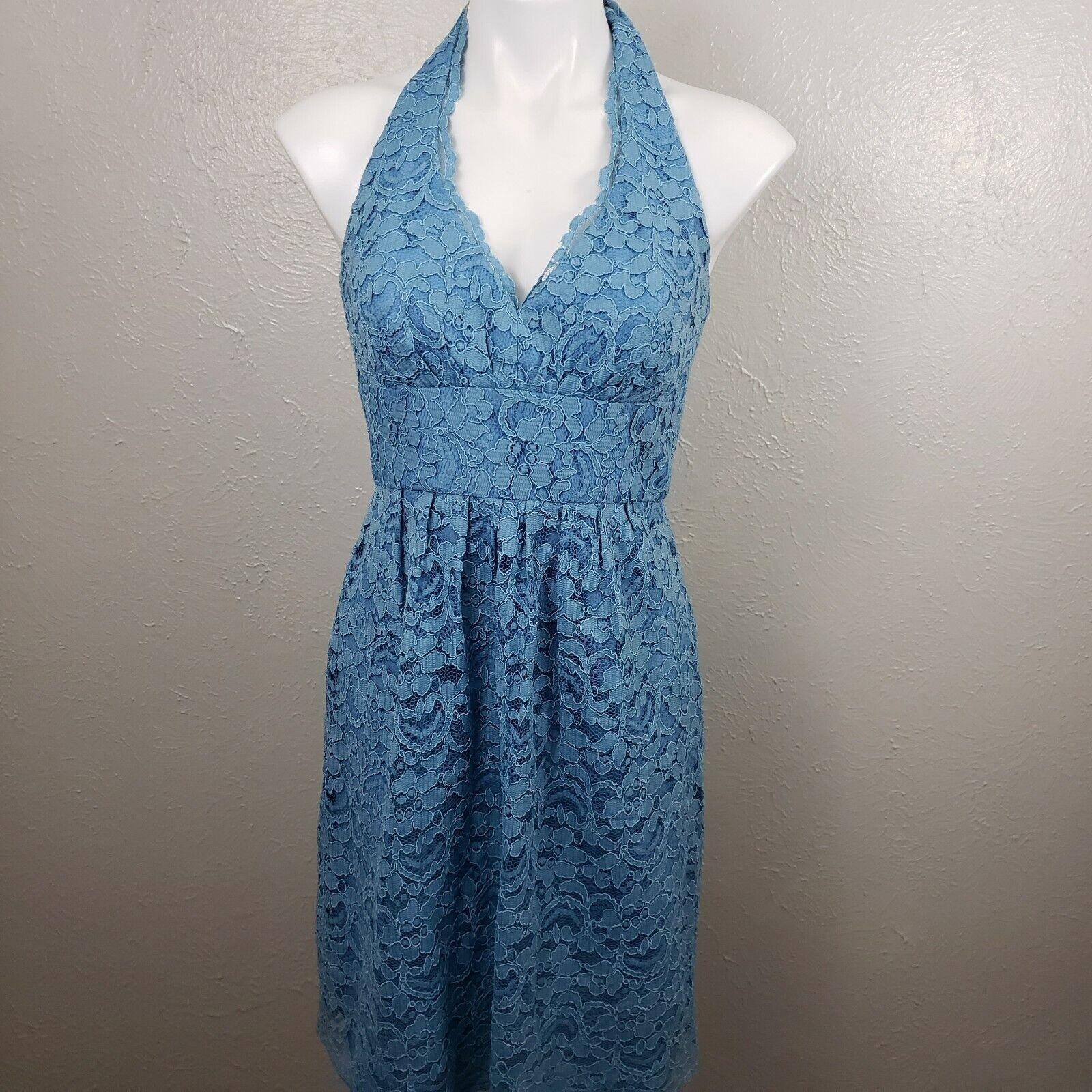 Davids Bridal F15623 blue Halter Lace Short Bridesmaid Dress sz 8 prom cocktail