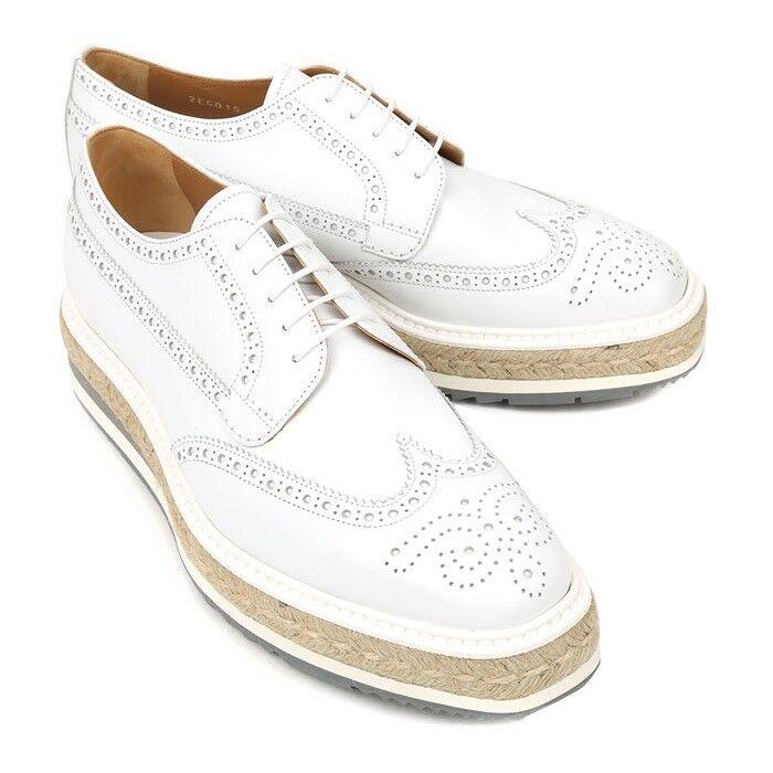 Prada Derby Spazzolato Rois Bianco I scarpe Men's Dress Creepers Dimensione 5-9 2EG015