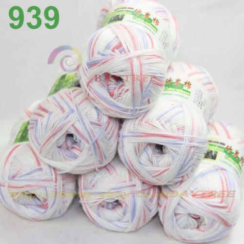 Vente nouveau 6 skeinsx 50 g Doux Bambou Coton Bébé Hand Knit Châles Crochet Yarn 39