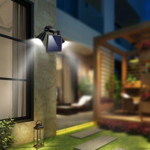 LED Solar Light Dual-Head Motion Sensor Double Spotlights Security Light Outdoor