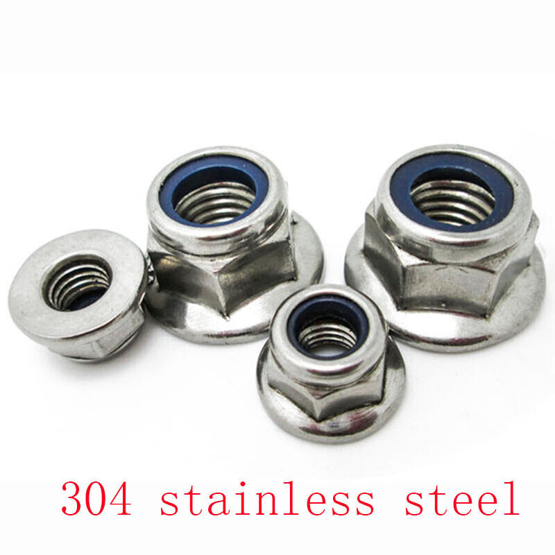 Zinc-Plated M3 M4 M5 M6 M8 Flanged Nyloc Nuts Flange Nylon Insert Locking Nut