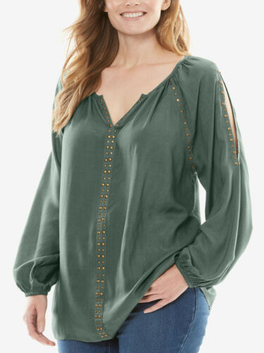 ref 311 WOMAN WITHIN LADIES STUD EMBELLISHED COLD SHOULDER TOP PINE NEW