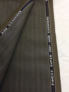 WAIN SHIELL 3.5 metres Brown Super 130/'s Wool /& Cashmere Summer Suit Fabric.