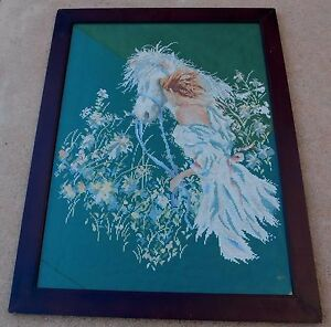 Vintage-Hand-Embroidery-Girl-White-Horse-Flowers-Floral-Picture-Framed-Large