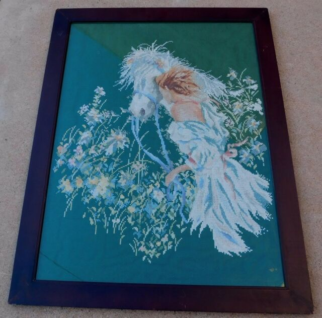 Vintage Hand Embroidery Girl White Horse Flowers Floral Picture Framed Large