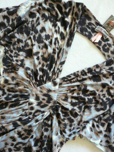 BNWT new LIPSY black animal print stretch v neck bodycon open back  party dress