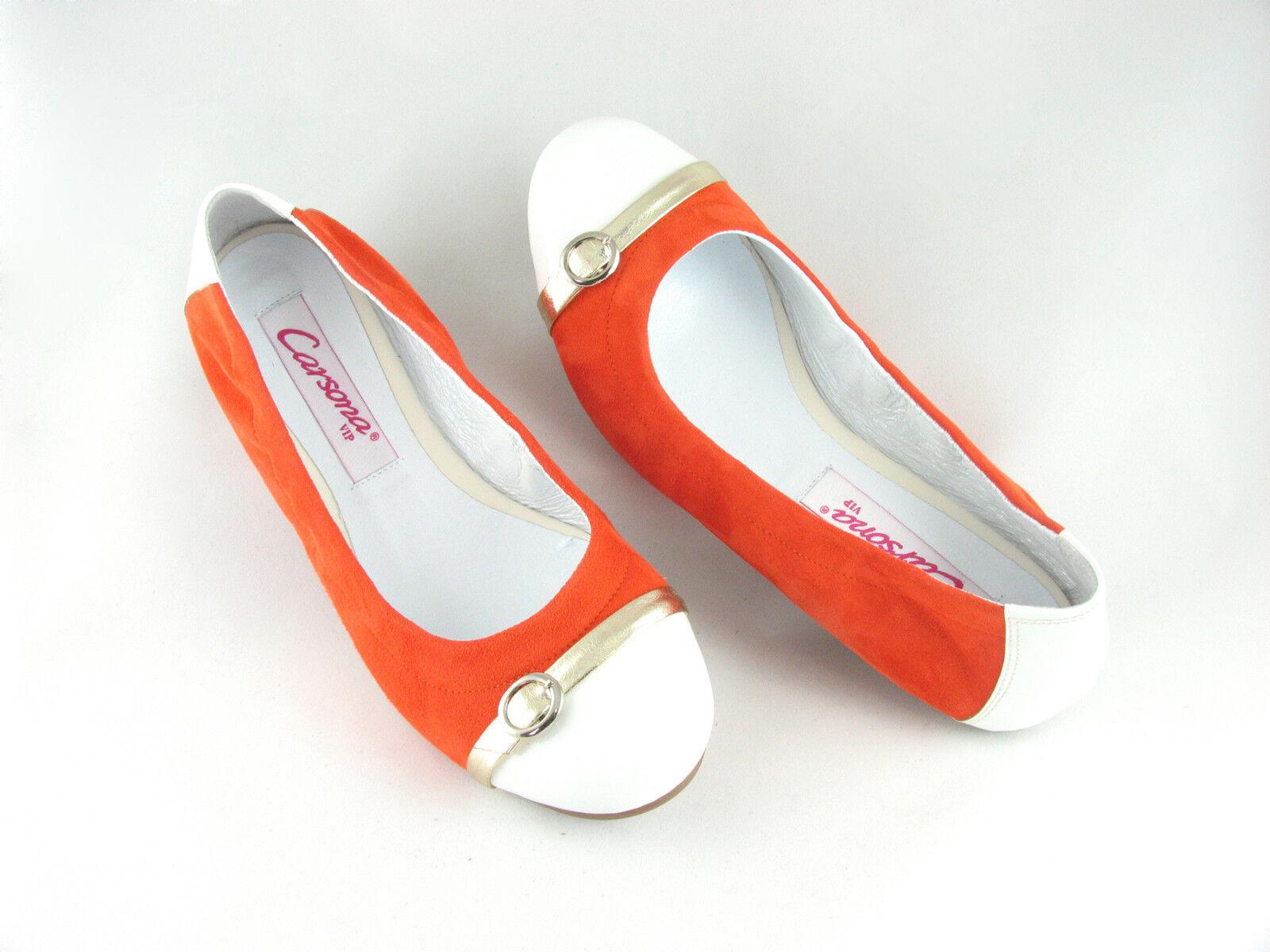 Edelste Ballerinas Slipper Leder Soft Flats Damen Slipper Ballerinas orange / weiß Gr. 36, 37, 38 97da0b