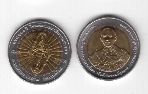 BIMETAL 10 BAHT UNC COIN 2009 YEAR Y#510 100th GENERAL COLLEGE THAILAND