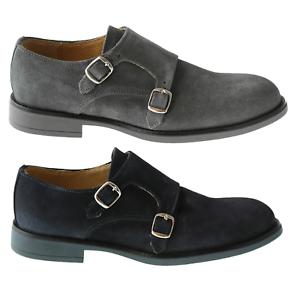 vasta selezione di 2e35e 0cd3c Dettagli su scarpe uomo eleganti doppia fibbia camoscio grigio monk strap  blu casual esprez