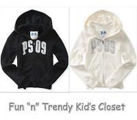 Kids Ps Aeropostale Girls Size 7 8 Zip-front Black Cream Sweatshirt Hoodie