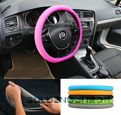 Pink Soft Silicon Skidproof Odorless Universal Car Auto Steering Wheel Cover suv