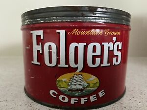Vintage 1959 Folger's Coffee Tin 1 lb w/o lid Very good cond , color & graphics!