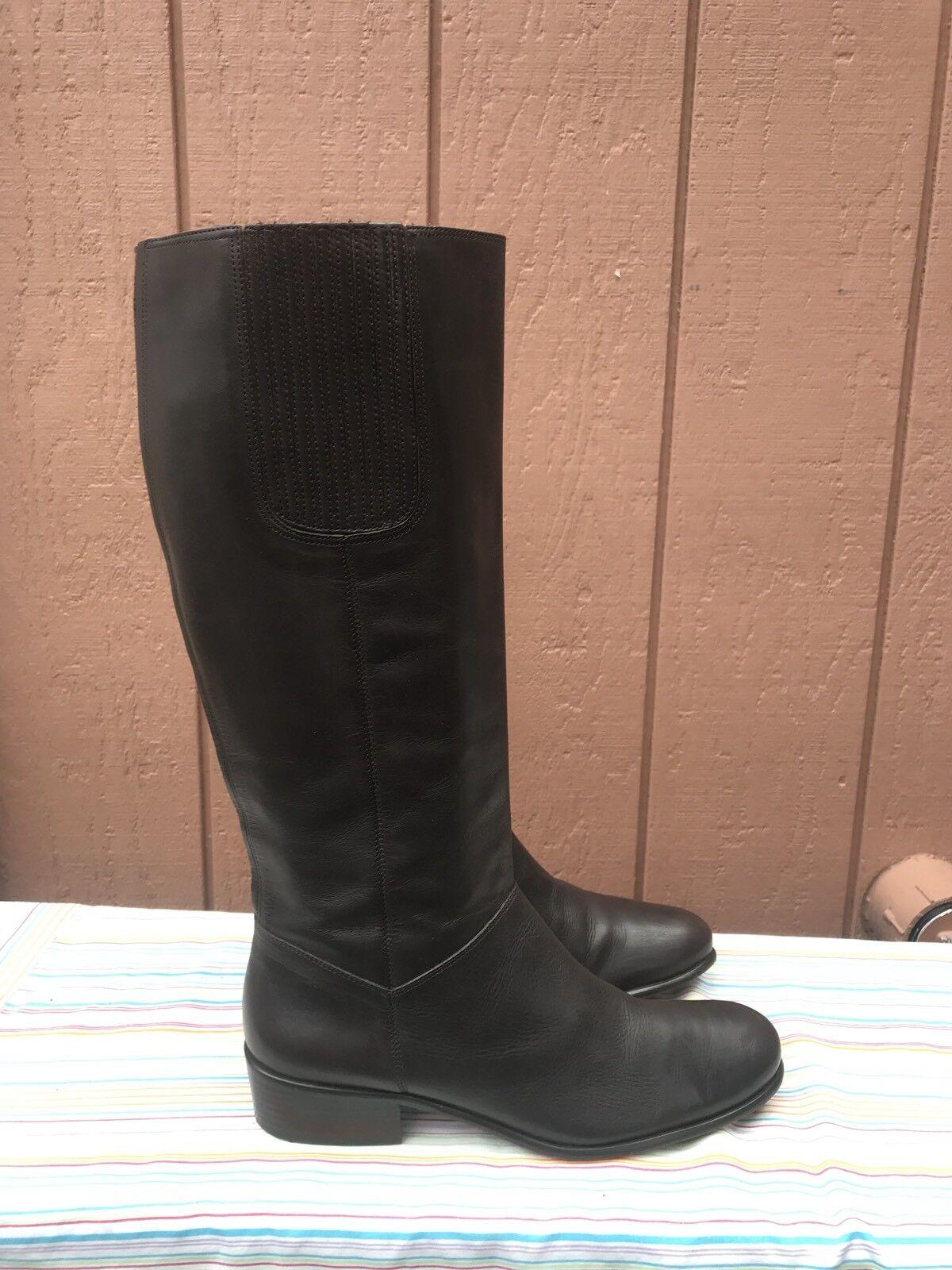 EUC Corso Como Brown Leather Knee High Riding Boots Women's US 10 M