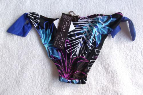 NOUVEAU POUR MOI taille 8 xs fausse cravate Bikini Slips Pantalon Noir//Multi