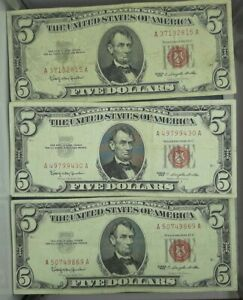5-RED-SEAL-NOTE-AVERAGE-CIRCULATED-FREE-SHIPPING-EACH-LOT-IS-3-NOTES