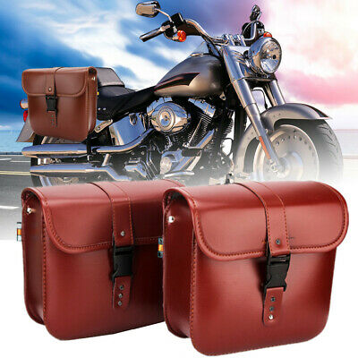 2PC Motorcycle PU Leather Side Saddle Bags For Harley Sportster XL883//1200 Black