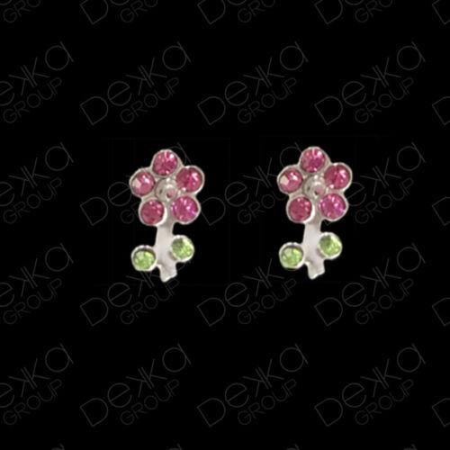 925 Sterling Silver Daisy Flower Crystal Mini Stud Earrings Studs Girls Women