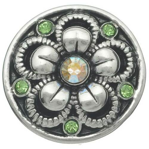 25 Antik Silber Blumen Muster mit Grün Strass Klicks Klicks Druckknöpfe
