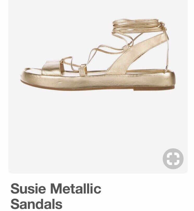 DVF Diane Von Furstenberg Sz 6 gold Metallic Leather ankle Tie Sandals Preowned