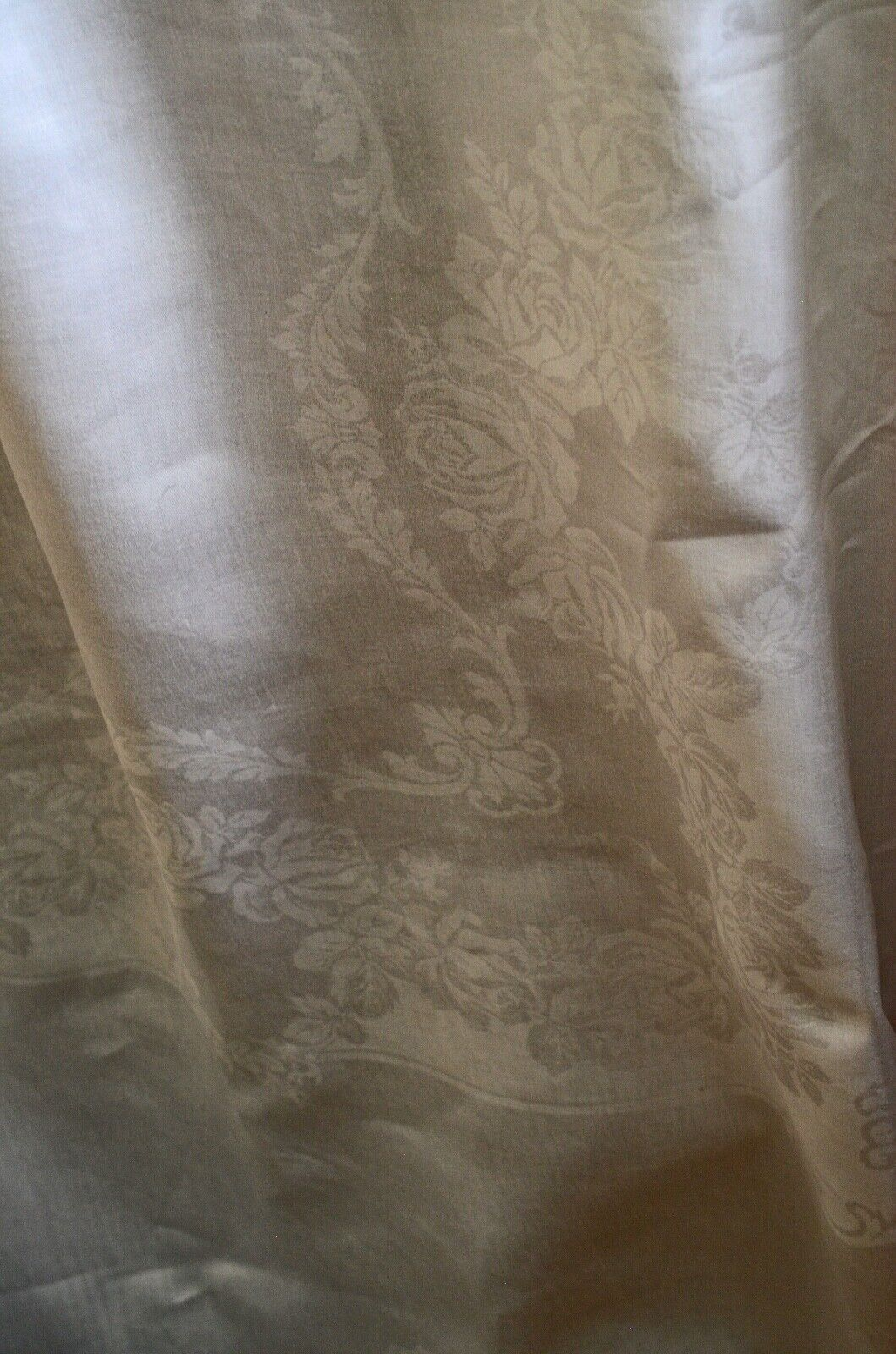 Vintage Double Damassé Nappe de Table Blanc UU252