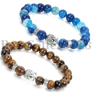 2pcs-Herren-Damen-Feng-Shui-Achat-Buddha-Kopf-Perlen-Armband-8mm-Perle