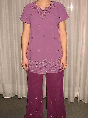 Lila Bestickt Tunika Hose Tuch 3-tlg Orient Indien Kostüm Kamiz Salwar Gr S