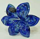 Murano Art Glass Flower Sculpture Venice Italy Hand Blown Blue Gift Home Decor 7