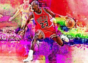 2021 Michael Jordan Bulls Basketball 8/25 Art ACEO  Sketch Print Card By:Q